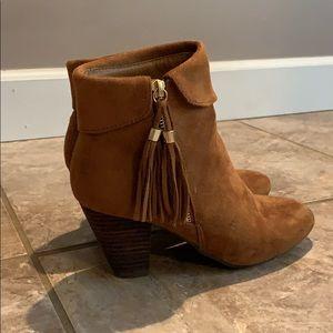 Suede light brown booties